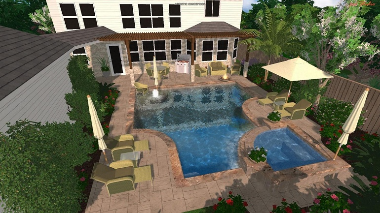 Bulldog pool spa pool studio 3d modeling for Pool studio 3d design